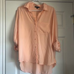 Peach High-low button up tunic
